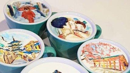 Вкусные шедевры: бариста из Кореи создает чудесные рисунки на пенке от кофе