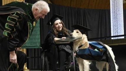 В США собака-поводырь получила диплом магистра (Видео)