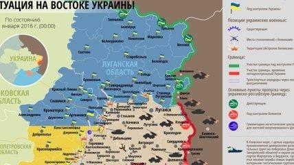 Карта АТО на востоке Украины (1 января)