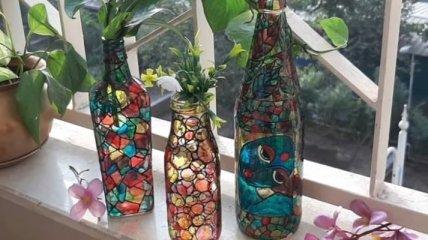 Что можно сделать из простых стеклянных бутылок (Фото)