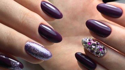 Маникюр 2020: шикарный сливовый дизайн ногтей (Фото)