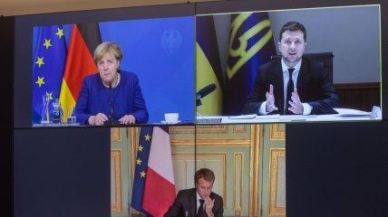 Кадр з відео конференції Німеччини, України та Франції.
