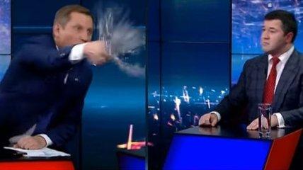 Депутат облил водой Насирова в прямом эфире: видео