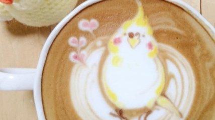 Красочный латте-арт с птицами от талантливой японки (Фото)