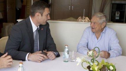 Кличко и Сорос говорили об инвестициях в экономику Киева