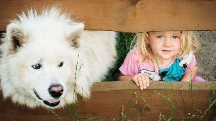 Дети и собаки на трогательных фотографиях (Фото)
