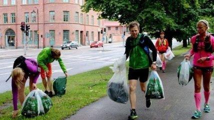 Как убирать мусор и заниматься спортом одновременно знают люди из Швеции
