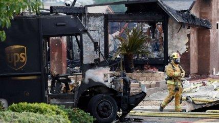 Сгоревшая машина почтовой службы