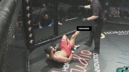 Ужасный перелом ноги от собственного удара в ММА (Видео)