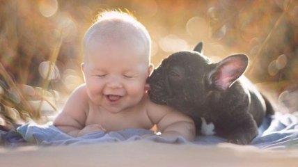 Трогательные снимки дружбы малыша и щеночка (Фото)