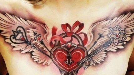 Стильные татуировки с изображением замка и ключа (Фото)