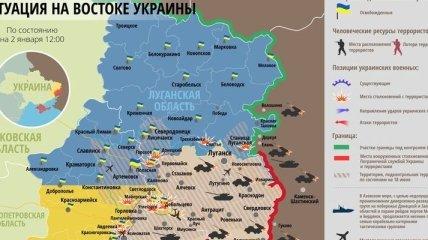 Карта АТО на востоке Украины (2 января)