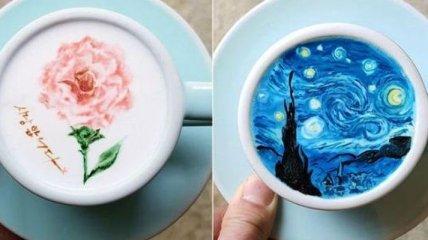 Шедевры талантливого бариста: рисунки прямо на пенке ароматного кофе (Фото)