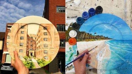 Девушка создает невероятно реалистичные рисунки на тарелках (Фото)