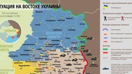 Карта АТО на востоке Украины (6 января)