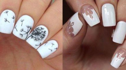 Маникюр 2018: восхитительные идеи дизайна ногтей в белом цвете (Фото)