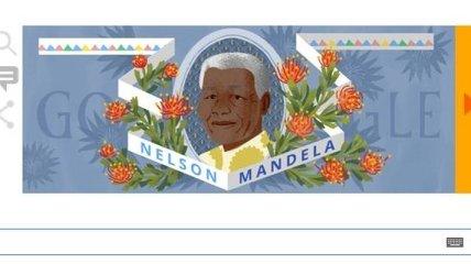 Google посвятил свой doodle 96-летию с дня рождения Нельсона Манделы