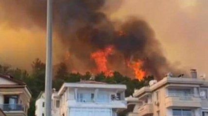 Отдых окончен: в Турции масштабные лесные пожары добрались до прибережных отелей (фото, видео)