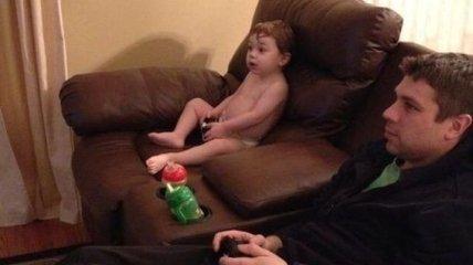 Отцовская любовь: снимки о том, как дети отдыхают с папами (Фото)