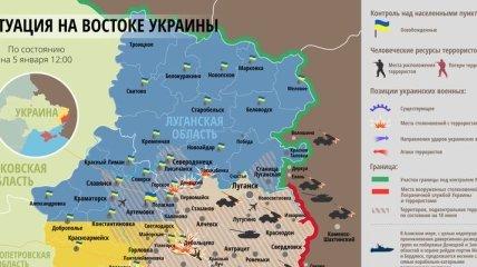 Карта АТО на востоке Украины (5 января)