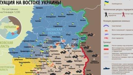 Карта АТО на востоке Украины (9 января)