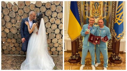 Александр Хижняк с невестой и с отцом на награждении украинских олимпийцев