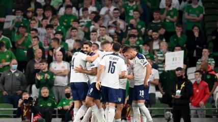 Сборная Сербии в матче с Ирландией