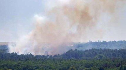 Масштабный пожар на Хортице: огонь тушат даже женщины (фото)
