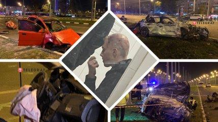 ДТП в Харькове  - обломки двух машин раскидало по перекрестку.