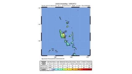 У побережья Вануату произошло мощное землетрясение