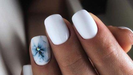 Осенний маникюр 2018: идеи модного дизайна ногтей в белом цвете (Фото)