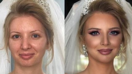 """Косметика творит чудеса: красивый свадебный макияж из серии """"До и после"""" (Фото)"""