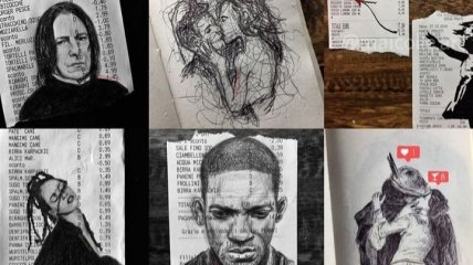 Удивительные рисунки на чеках как отдельный вид искусства (Фото)