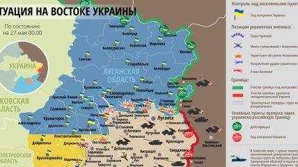 Карта АТО на востоке Украины (27 мая)