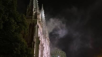 Пожар в костеле в Киеве