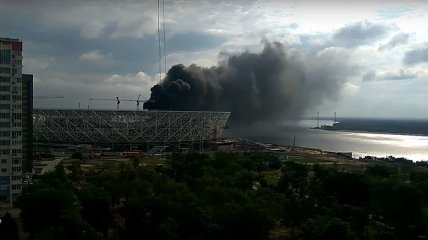 В России произошел пожар на стадионе, который строят к ЧМ-2018