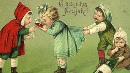 Старинные новогодние открытки, которые вас удивят (Фото)