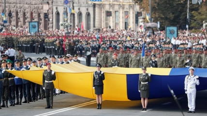 Украинские военнослужащие принимают участие в параде в честь Дня Независимости страны в Киеве. 24 августа 2021 г.