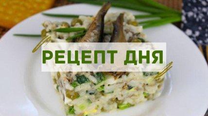 Рецепт дня: Шпротный салат с рисом, огурцом, горошком и яйцами
