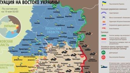 Карта АТО на востоке Украины (19 мая)
