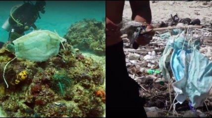 Последствия пандемии: в море нашли целый риф, покрытый одноразовыми масками (видео)