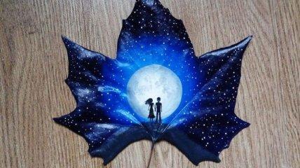 Влюбленная пара превращает осенние листья в произведения искусства (Фото)