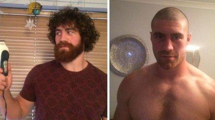 Преображение мужчин: с бородой брутальные, а без нее как дети (Фото)