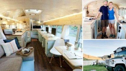 Школьный автобус превратился в комфортабельный дом на колесах (Фото)