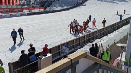 Летающий лыжник упал с трамплина на скорости свыше 100 км/ч (видео)