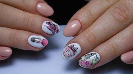 """Маникюр 2020: красивый дизайн """"девушка на ногтях"""" (Фото)"""
